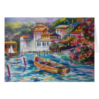 Fishing Port below Portafino IT ~ Watercolor Card