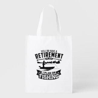 Fishing Retirement Reusable Grocery Bag