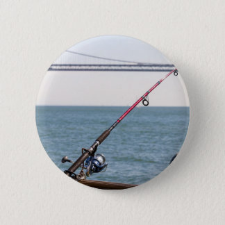 Fishing Rod on the Pier in San Francisco Bay 2 Inch Round Button