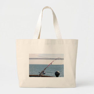 Fishing Rod on the Pier in San Francisco Bay Large Tote Bag