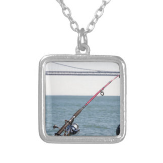 Fishing Rod on the Pier in San Francisco Bay Silver Plated Necklace