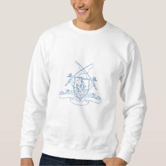 Fishing Rod Reel Hooking Blue Marlin Beer Bottle C Sweatshirt