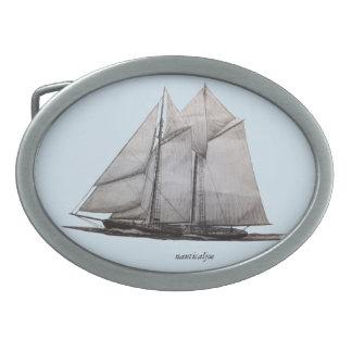 fishing schooner oval belt buckle