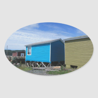 Fishing Sheds Oval Sticker