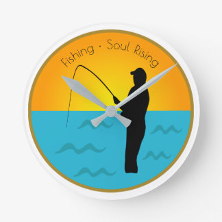 Fishing Soul Rising Round Clock