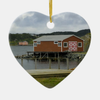 Fishing Stage in Twillingate Ceramic Heart Ornament