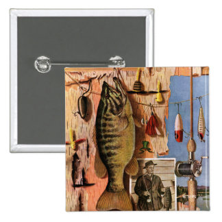Fishing Still Life by John Atherton 2 Inch Square Button