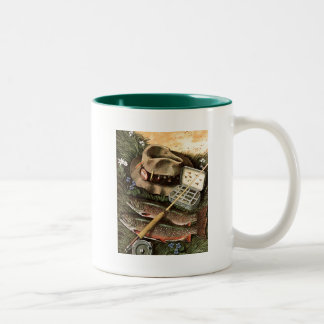 Fishing Still Life Two-Tone Coffee Mug