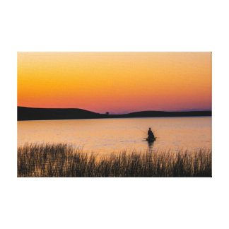 Fishing Sunset Scene On Canvas