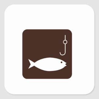 Fishing Symbol Square Sticker