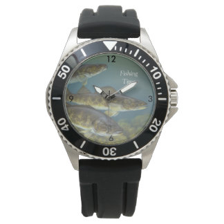 """""""Fishing Time"""" With Three Walleye Pike Wristwatches"""