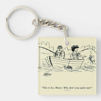 Fishing Trip Double-Sided Square Acrylic Keychain