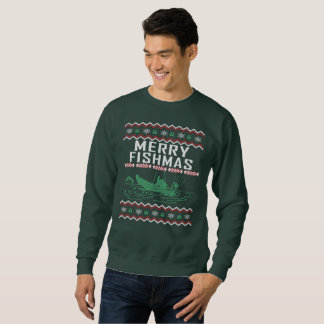 Fishing Ugly Christmas Sweater Merry Fishmas