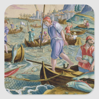 Fishing with Nets and Tridents in the Bay of Naple Square Sticker