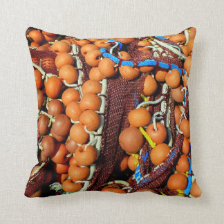 Fishingboat. Cork balls. Throw Pillow