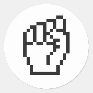 Fist Cursor Classic Round Sticker