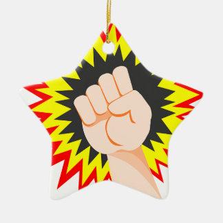 Fist Hand Strength Arm Power Energy Punch Ceramic Ornament