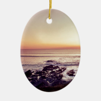 Fistral Beach Sunset Ceramic Oval Ornament