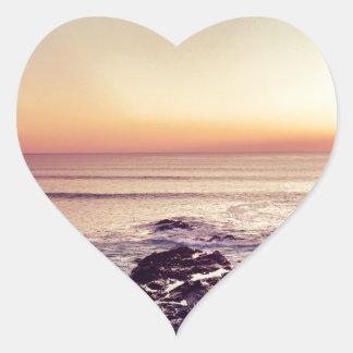Fistral Beach Sunset Heart Sticker