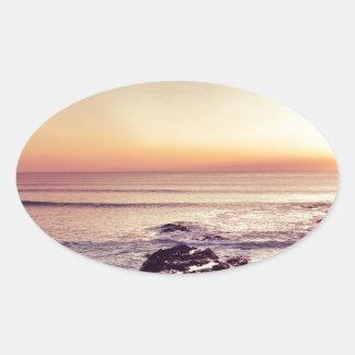 Fistral Beach Sunset Oval Sticker