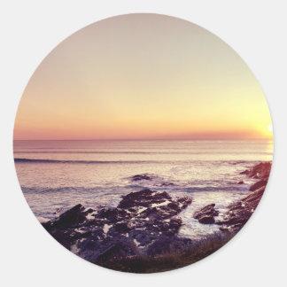 Fistral Beach Sunset Round Sticker