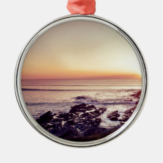 Fistral Beach Sunset Silver-Colored Round Ornament