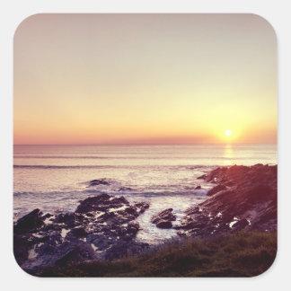 Fistral Beach Sunset Square Sticker