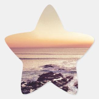 Fistral Beach Sunset Star Sticker