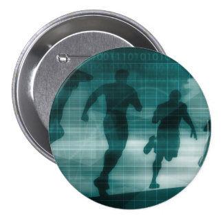 Fitness App Tracker Software Silhouette 3 Inch Round Button