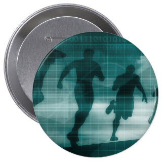 Fitness App Tracker Software Silhouette 4 Inch Round Button