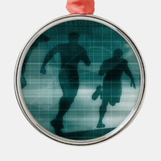 Fitness App Tracker Software Silhouette Metal Ornament