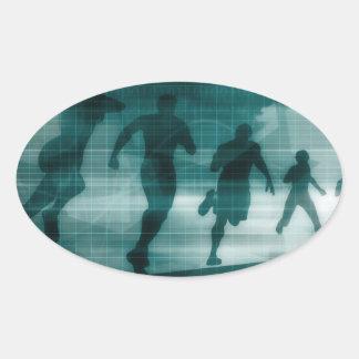 Fitness App Tracker Software Silhouette Oval Sticker