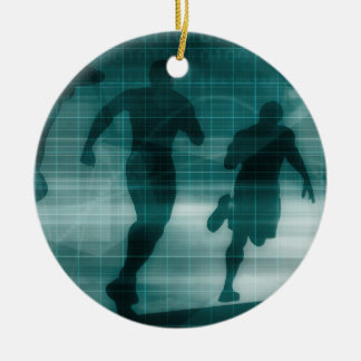 Fitness App Tracker Software Silhouette Round Ceramic Ornament