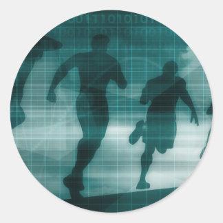 Fitness App Tracker Software Silhouette Round Sticker