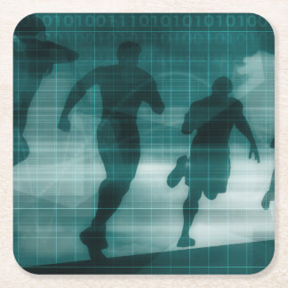 Fitness App Tracker Software Silhouette Square Paper Coaster