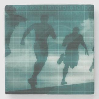 Fitness App Tracker Software Silhouette Stone Coaster