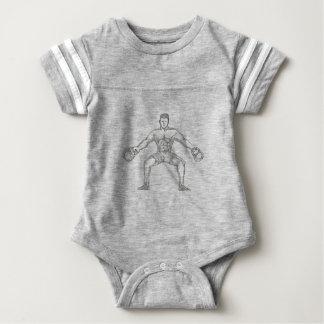 Fitness Athlete Lifting Kettlebell Doodle Art Baby Bodysuit