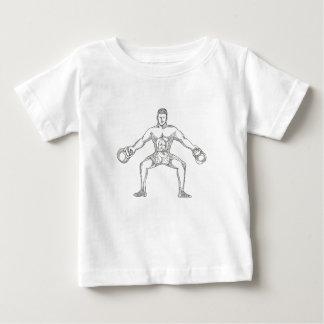 Fitness Athlete Lifting Kettlebell Doodle Art Baby T-Shirt