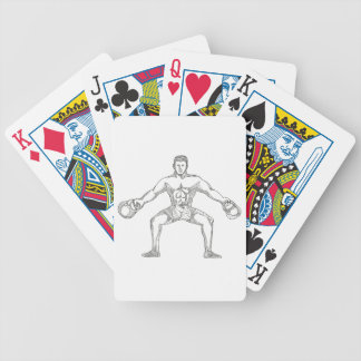Fitness Athlete Lifting Kettlebell Doodle Art Bicycle Playing Cards