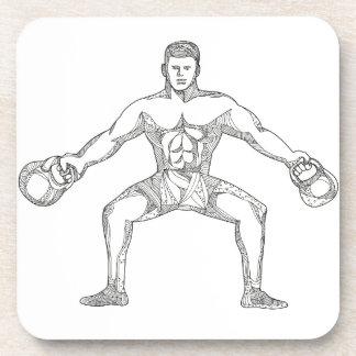 Fitness Athlete Lifting Kettlebell Doodle Art Coaster