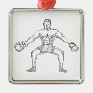 Fitness Athlete Lifting Kettlebell Doodle Art Metal Ornament