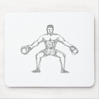 Fitness Athlete Lifting Kettlebell Doodle Art Mouse Pad