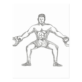 Fitness Athlete Lifting Kettlebell Doodle Art Postcard