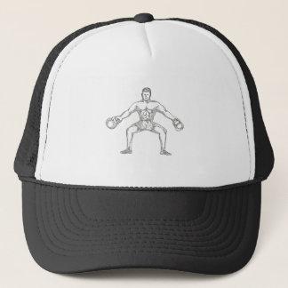Fitness Athlete Lifting Kettlebell Doodle Art Trucker Hat