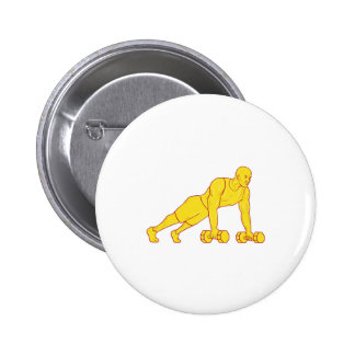 Fitness Athlete Push Up Dumbbell Drawing 2 Inch Round Button
