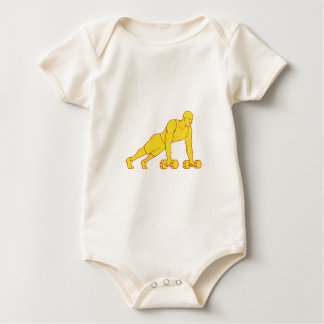 Fitness Athlete Push Up Dumbbell Drawing Baby Bodysuit
