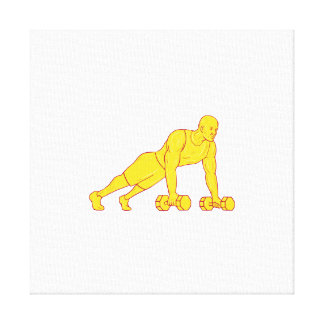 Fitness Athlete Push Up Dumbbell Drawing Canvas Print