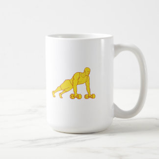 Fitness Athlete Push Up Dumbbell Drawing Coffee Mug