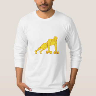 Fitness Athlete Push Up Dumbbell Drawing T-Shirt