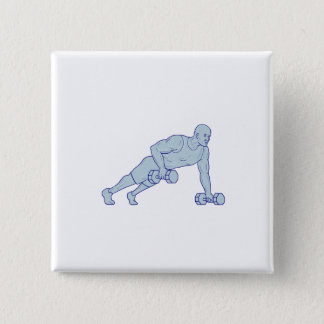 Fitness Athlete Push Up One Hand Dumbbell Drawing 2 Inch Square Button